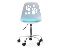 Krzesło Obrotowe Do Biurka Dla Dzieci Foot Biało Niebieskie