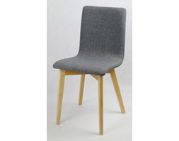 GRIM krzesło drewniane naturalny buk, szara tapicerka 06