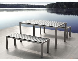 Aluminiowe meble ogrodowe szare z dwiema ławkami, Polywood, NARDO