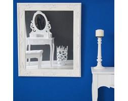 Lustro, drewniana, biała rama, ornamenty.