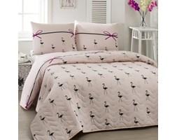 Komplet narzuty i poduszki Flamingo Powder, 160x220 cm