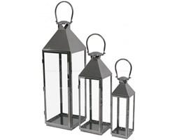 "KOMPLET 3 SZT LAMPIONÓW  METALOWYCH SREBRNYCH  "" MODERN CLASSIC """