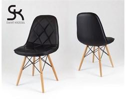 CZARNE krzesło z ekoskóry na drewnianych nogach - Czarny