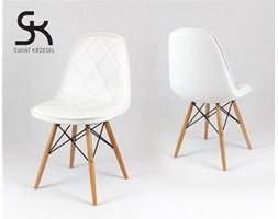 BIAŁE krzesło z ekoskóry na drewnianych nogach - Biały