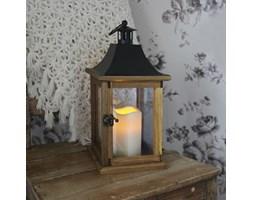 LANTERN - Laterna zewnętrzna Drewno Świeczka LED Wys.35cm
