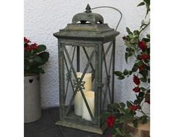 LANTERN - Laterna zewnętrzna Postarzany Metal Szary 2 Świeczki LED Wys.50cm