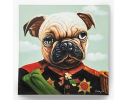 KARE Design :: Obraz olejny Little General Pug 100x100cm