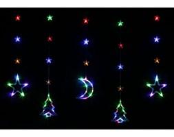 Bulinex :: Kurtyna świetlna LED z kolorowymi dekoracjami świątecznymi