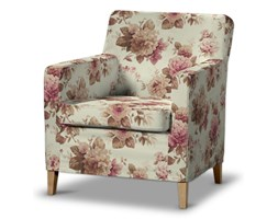 Dekoria Pokrowiec na fotel Karlstad, bordowo-beżowe róze na kremowym tle, Fotel Karlstad, Mirella