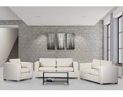 Sofa skórzana beżowa 2 x sofy, 1 x fotel HELSINKI