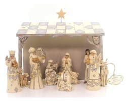 Biała Szopka styl vintage White Woodland Nativity 4053690 Jim Shore