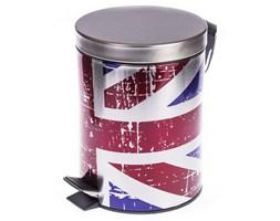 Kosz na śmieci z pedałem z flagą Wielkiej Brytanii, poj. 5 l, śr. 20,5 cm, wys. 27,5 cm