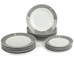 18-częściowy zestaw talerzy Symetria, porcelana, szary