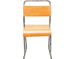Kare Design Krzesło School brązowo-chromowe - 78293