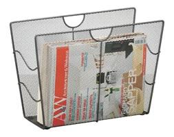 Metalowy gazetnik, kosz na gazety - kolor czarny, ZELLER