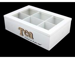 Drewniana herbaciarka TEA, 6 przegródek