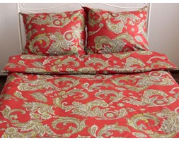 Pościel satynowa Debbie Red 100% bawełny (160x200)