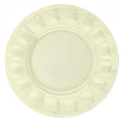 Szklany talerz dekoracyjny TOMI 21 cm -- żółty - rabat 10 zł na pierwsze zakupy!