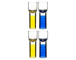 Kieliszki do wódki/likieru Club, żółto-niebieskie