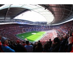 Fototapeta LONDON - APRIL 14 : Supporters watch the football game of Liverpool - Everton Semi Final FA Cup Crowd at Wembley Arena Stadium on April 14,