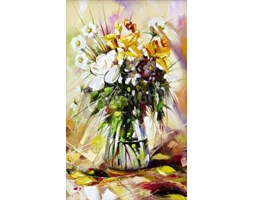 Obraz The vase with the flowers drawn by oil on a canvas