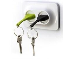 Uchwyt naścienny z zawieszkami na klucze QUALY Double Unplug, zielony/czarny