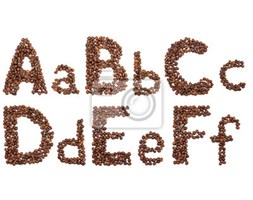 Naklejka alphabet from coffee beans isolated
