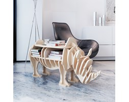 240784 Drewniana półka na książki, stolik, nietypowy kształt, nosorożec