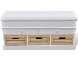 240806 Ławka do przedpokoju z poduszką szufladami oraz drewnianymi skrzyniami
