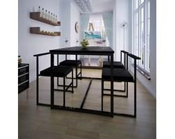 240844 Zestaw jadalniany, stół i cztery krzesła, czarne