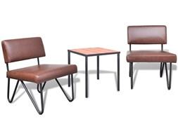 241071 Luksusowy komplet stolik i 2 fotele, imitacja skóry, brązowe