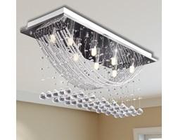 241391 Biała lampa sufitowa ze szkła z kryształowymi koralikami 8 x G9 29 cm