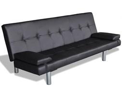 241722 Czarna sofa z dwoma poduszkami