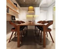 270040 Krzesła jadalniane, gięte, drewniana rama, brąz, skóra (x6)
