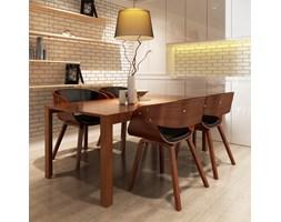 270044 Krzesła jadalniane, drewniana rama, brąz, skóra (x4)