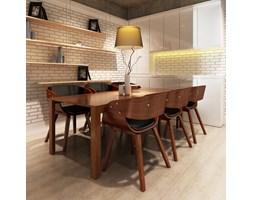 270045 Krzesła jadalniane, drewniana rama, brąz, skóra (x6)