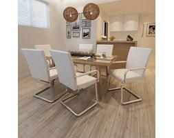 270165 Nowoczesne krzesła jadalniane, biała eko skóra x6