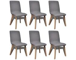 270569 Dębowy zestaw ciemnoszarych krzeseł 6 szt. z podłokietnikami