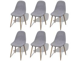 272243 6 jasnoszarych krzeseł materiałowych z żelaznymi nogami