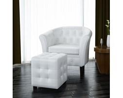 60711 Fotel Chesterfield biały z podnóżkiem