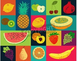 Obraz Pop Art grunge style fruit poster. Collection of retro fruits. Vintage vector set of fruits.