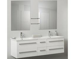 Meble łazienkowe białe - 2 umywalki ceramiczne + 2 lustra - MADRID