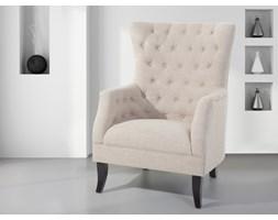 Fotel tapicerowany beżowy - krzesło - VIBORG