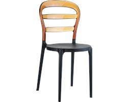 Krzesło z tworzywa Miss Bibi czarne/bursztynowe