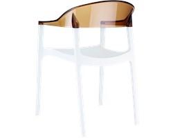 Krzesło z tworzywa Carmen białe/bursztynowe przeźroczyste