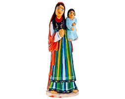 Tradycyjne rękodzieło ludowe - matka z dzieckiem 33 cm