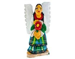 Rzeźba z drewna - rękodzieło - anioł w stroju łowickim z kwiatami - 25 cm
