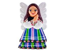 Rzeźba z drewna - rękodzieło - aniołek w stroju ludowym - 16 cm