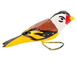 Tradycyjna rzeźba ludowa - mały folk ptaszek żółto - brązowo - biały