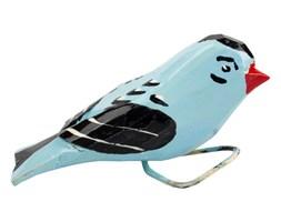 Tradycyjna rzeźba ludowa - mały folk ptaszek niebieski